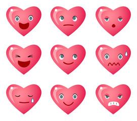 いろいろな表情のハートのアイコン