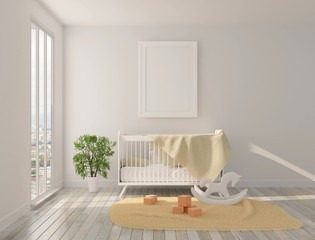 Interior of the children's room with panoramic windows, crib and toys on the floor. Sunshine and a home plant on the floor. 3D rendering. 3D illustration.