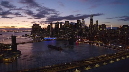 Wall Mural - New York City downtown skyline aerial evening sunset