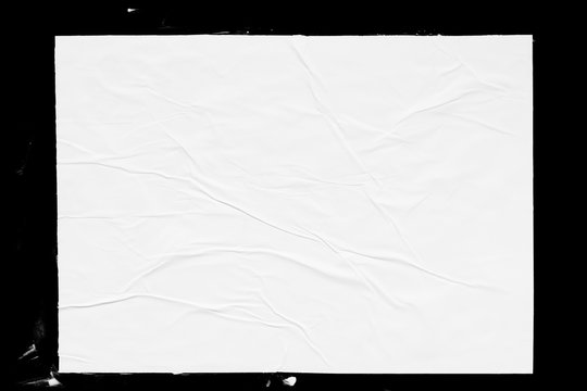Poster mockup isolated on black background. Blank glued creased paper sheet texture