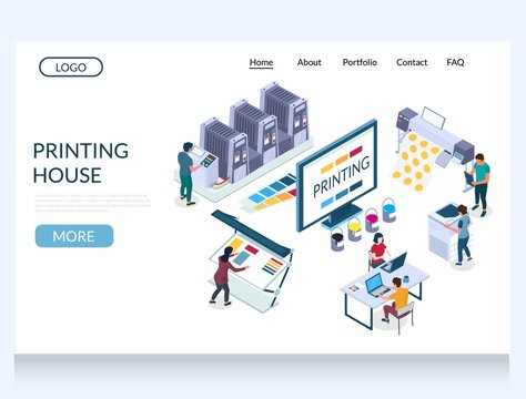 Printing house vector website landing page design template
