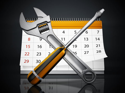 Crossed wrench and screwdriver with desktop calendar isolated on white background. 3D illustration