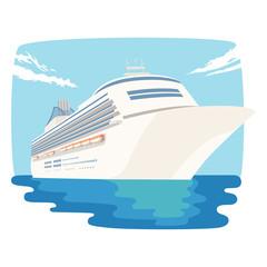 船のイラスト。広い世界の海を旅する豪華客船。