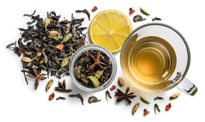 Green tea with natural flavors and a cup. Top view on white background