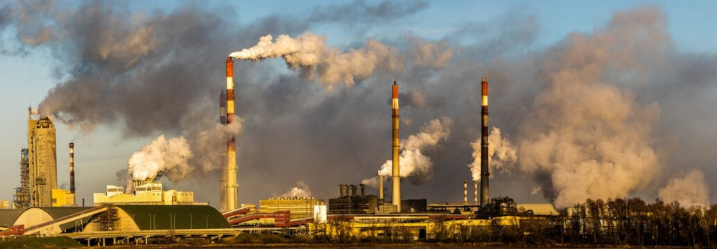 chemical plant in Poland emitting huge amounts of smoke, dust and pollutants emitted into the atmosphere