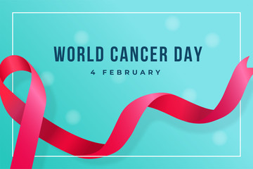 World Cancer Day poster background template design with ribbon symbol vector illustration