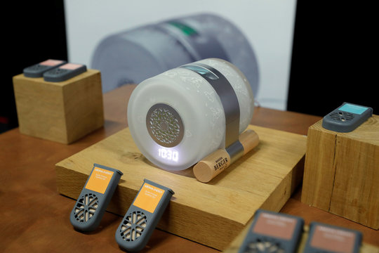 A Maison Berger alarm clock, with aroma diffuser cartridges that help you go to sleep or wake up, is displayed at CES Unveiled during the 2020 CES in Las Vegas
