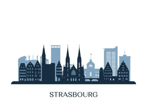 Strasbourg skyline, monochrome silhouette. Vector illustration.