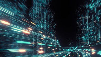 3D Rendering of warp speed in hyper loop with blur light from buildings' lights in mega city at night. Concept of next generation technology, fin tech, big data, 5g fast network, machine learning Wall mural