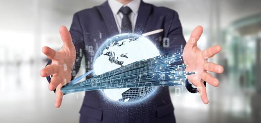 Businessman holding an Optical fiber connection - 3d rendering