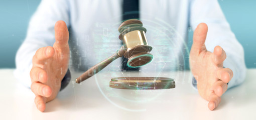 Businessman holding a Justice hammer and data - 3d rendering
