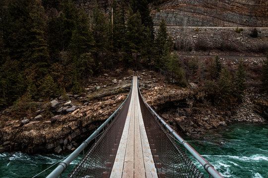 Suspension Bridge Over Rapid River in Montana