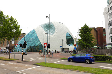 EINDHOVEN, NETHERLANDS - JUNE 5, 2018: view of modern futuristic building in the city centre of Eindhoven, Netherlands