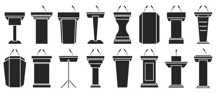 Podium of tribune black vector illustration on white background . Rostrum and podium set icon.Isolated vector illustration icon tribune with microphone.