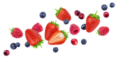 Flying berries isolated on white background with clipping path, different falling wild berry fruits, collection Fototapete