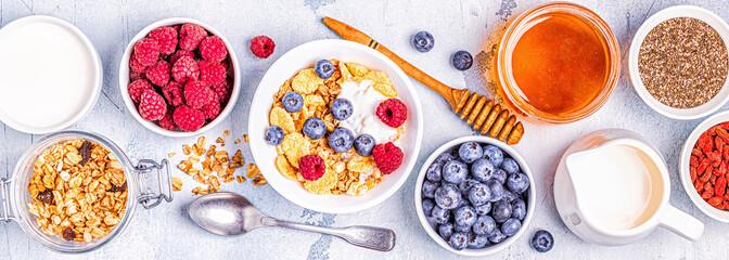 Healthy breakfast, muesli, cereal with fruit.