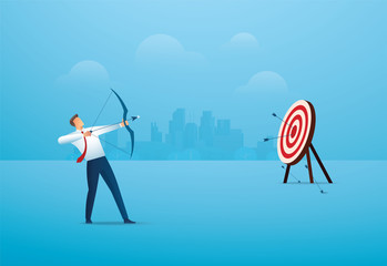 businessman with bow aiming the target. concept business vector illustration EPS10