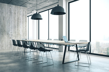 Concrete conference room interior