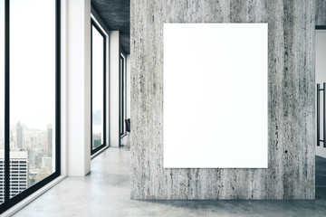 Contemporary office interior with empty poster