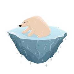 cartoon illustration of a sad ice bear sitting on a melting ice floe