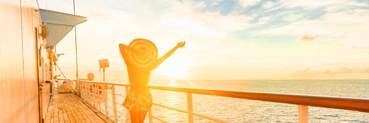 Cruise ship vacation travel woman having fun feeling free enjoying luxury elegant lady carefree on...
