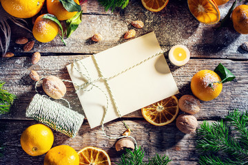 Christmas New Year flat lay composition oranges