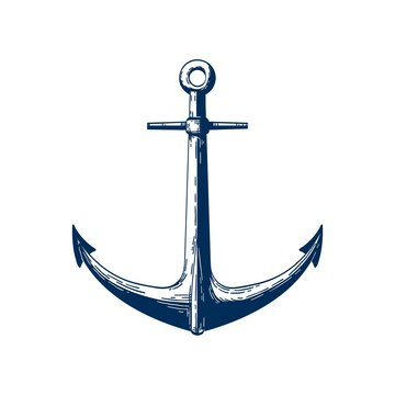 Classic marine anchor vector illustration. Nautical vessel mooring appliance, Traditional ship accessory isolated on white background. Classic sea themed tattoo design. Yacht club vintage logo.