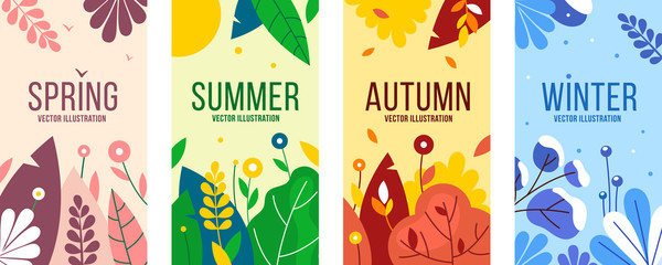 Seasons elements vector set.  Social backgrounds, cover design templates, banners with leaves and herbs.