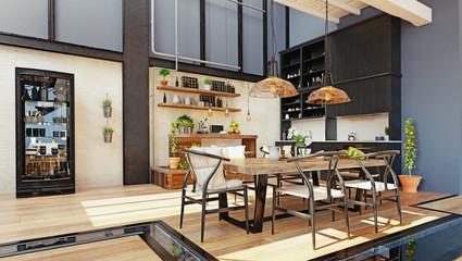 modern domestic kitchen interior.