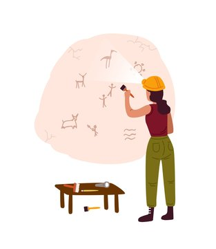 Archeological discovery, cave painting flat vector illustration. Female archeologist examining ancient drawings, petroglyphs on cave wall cartoon character. Stone age heritage, prehistoric art.