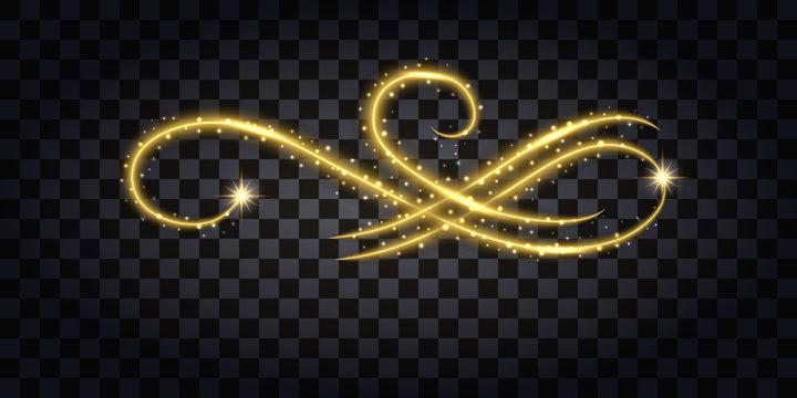 Gold glitter flourish. Design element sith golden glow effect, sparkles and neon shine. Vector illustration