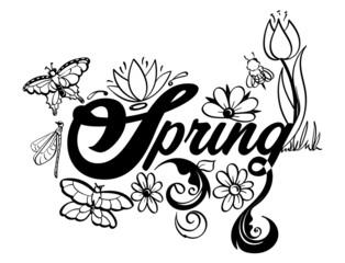 Spring Word Art Black and White