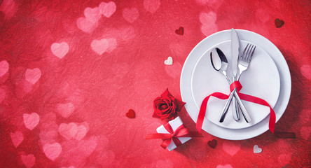 Poster Fleur Red table setting cutlery for valentines days dinner