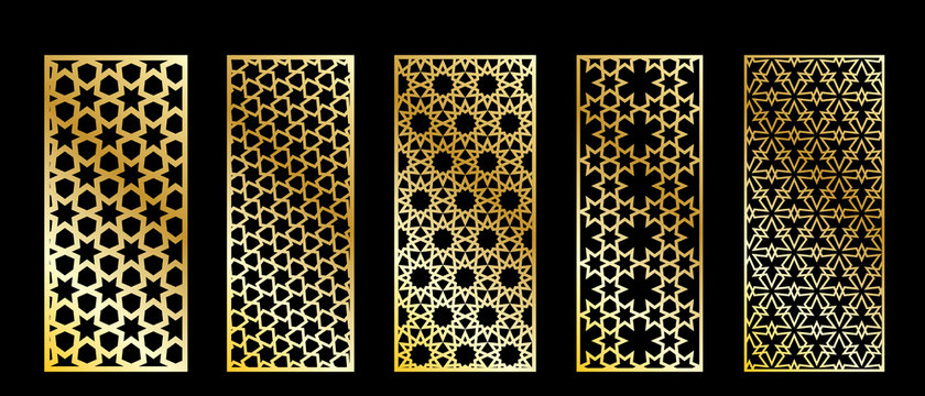 Cutout silhouette panels set with ornamental geometric arabic pattern. Template for printing, laser cutting stencil, engraving. Vector illustration.
