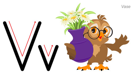 Alphabet with pictures. English abc letter education. Cute owl bird holds vase
