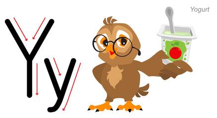 Letter of the English alphabet. Owl holds yogurt