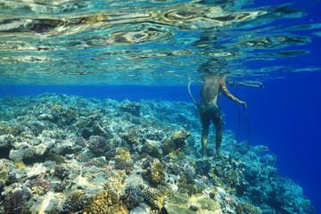 Wall Mural - Sailor walks barefoot over corals