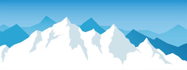 Foto auf Leinwand Pool Vector snow mountains background. Winter mountain range.