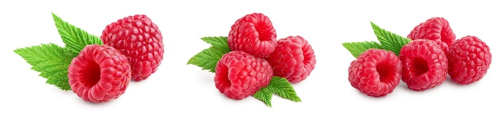 Ripe raspberries with leaf isolated on a white background, Set or collection Fototapete