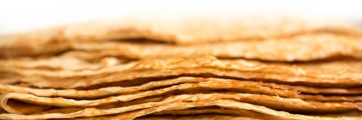 Türaufkleber Beige Assiette de crêpes vue de côté, fond et arrière plan panoramique pour la Chandeleur