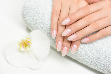 Nails manicure with file. Woman beautiful nail care. after filling. Fotomurales