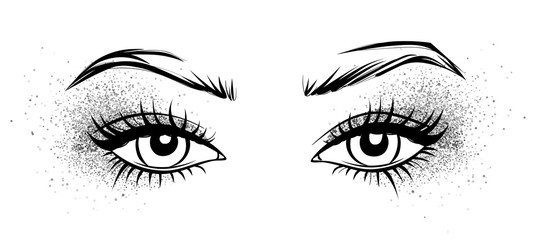 Female eyes with long black eyelashes, glitter silver eyeshadow and brows.
