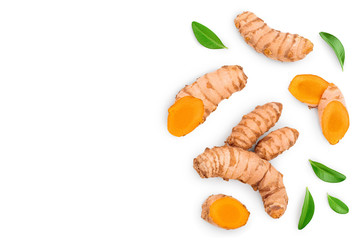 Fototapeta turmeric root and slices isolated on white background with copy space for your text. Top view. Flat lay obraz