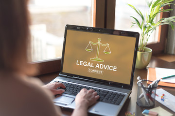 Legal advice concept on a laptop screen
