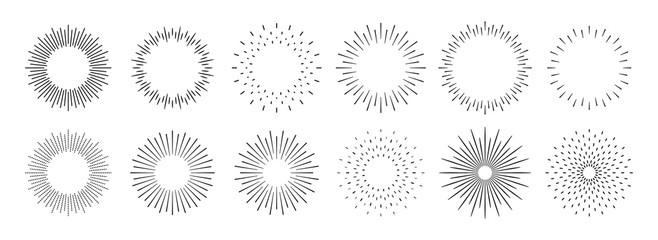 Sunburst set. Big collection sunburst best quality. Star, firework explosion, logo, emblem, tag. Web banner. Vector Illustration.
