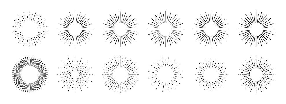 Sunburst set. Big collection sunburst best quality. Star, firework explosion, logo, emblem, tag. Web banner. Vector Illustration.