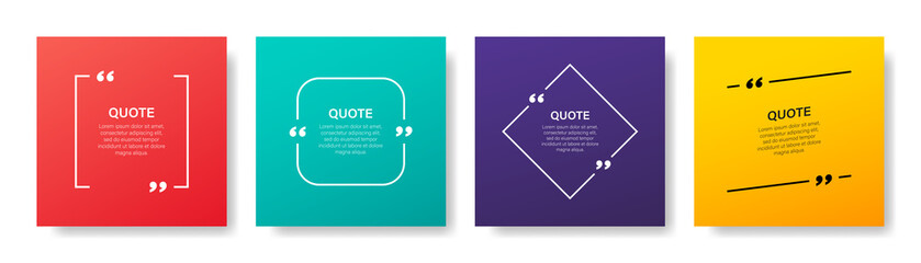 Quote box frame, big set. Quote box icon. Texting quote boxes. Blank template quote text info design boxes quotation bubble blog quotes symbols. Creative vector banner illustration. Wall mural