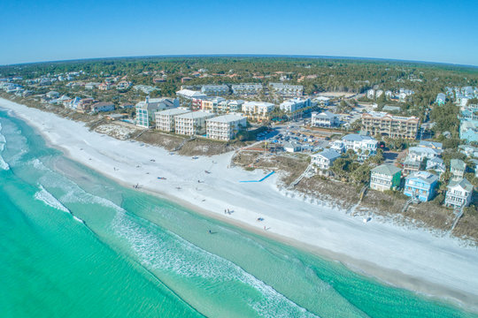 Aerial of Santa Rosa Beach, Florida and Gulf Place on a Perfect Afternoon in Winter