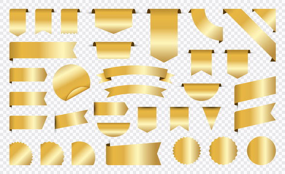 Sale and New Label collection set. Sale tags 30, 50, 70. Discount red ribbons, banners and icons. Shopping Tags. Sale icons. Gold isolated on white background, vector illustration.