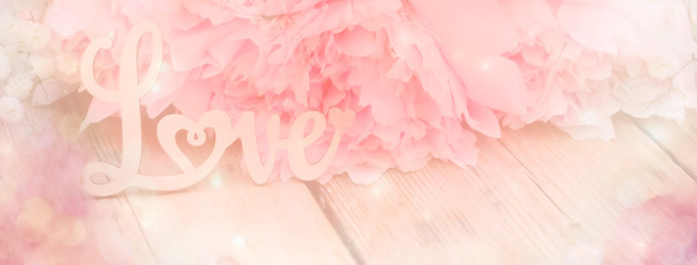 Fototapete - abstract background with flowers  - pink peony - love concept - background banner - spring, wedding, mothers day